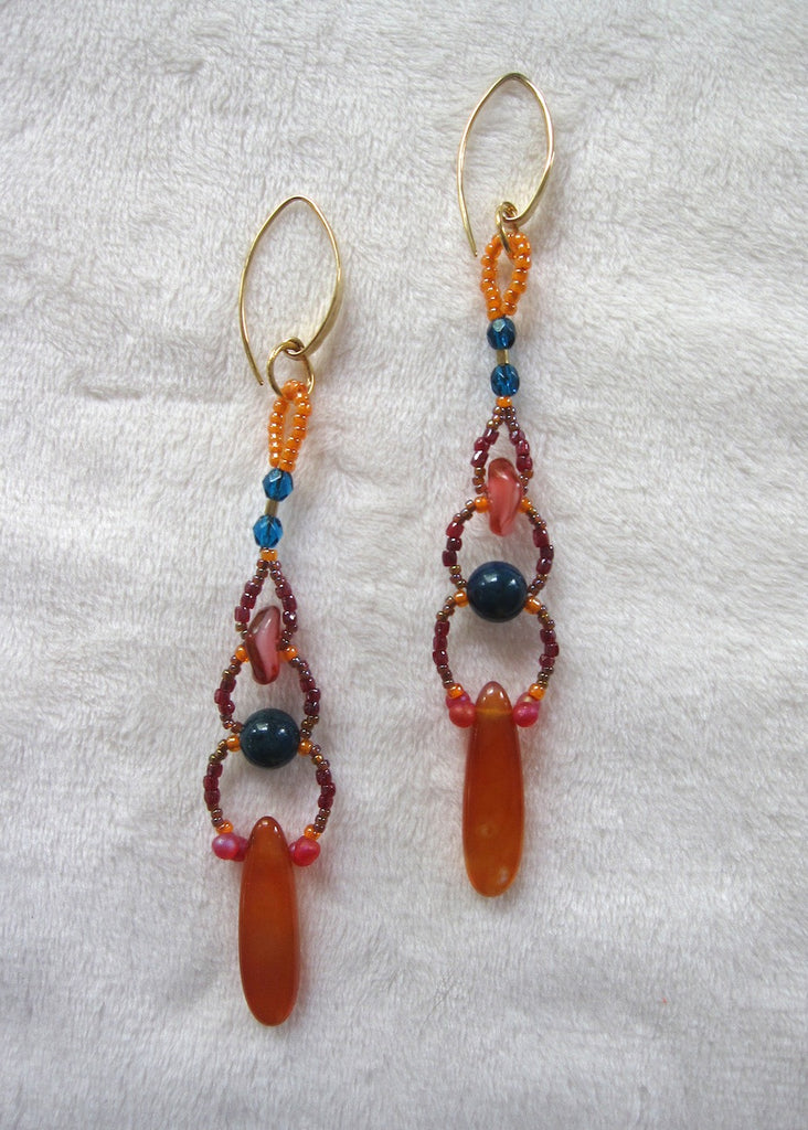 Carnelian and Glass Woven Earrings-SugarJewlz Handmade Jewelry