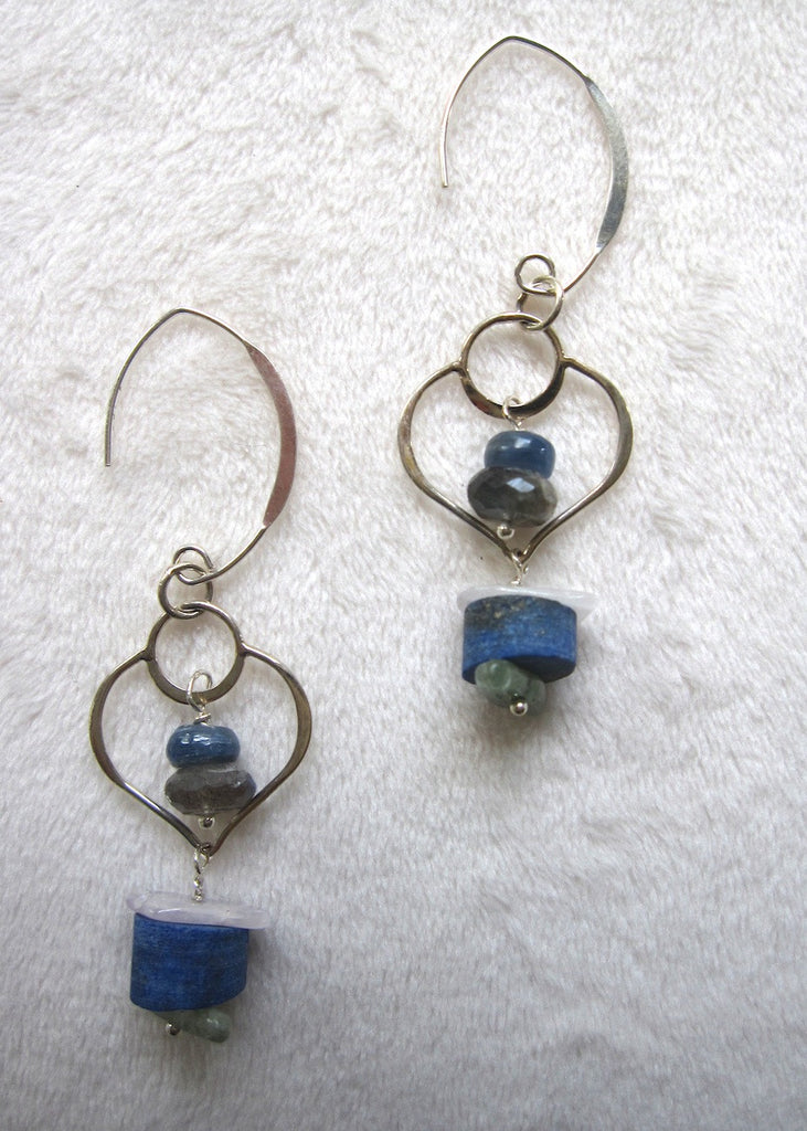 Mixed Gemstone With Sterling Silver Frames Earrings-SugarJewlz Handmade Jewelry