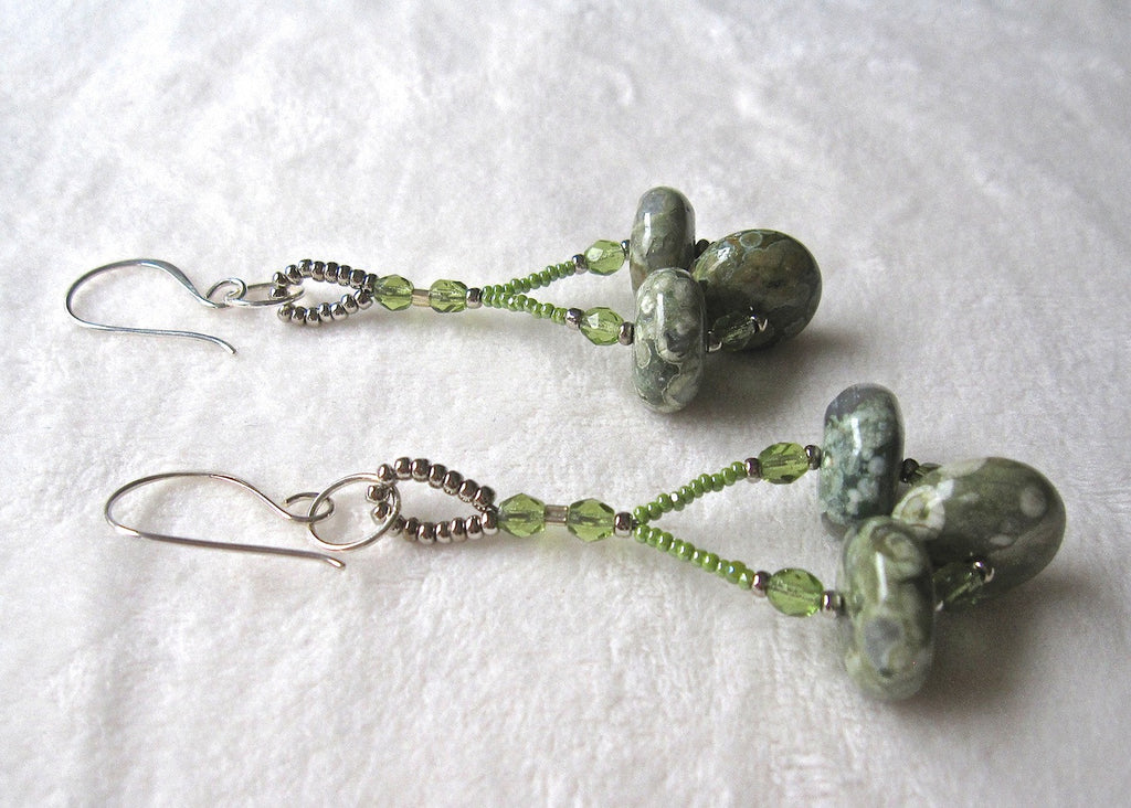 Green Agate Discs Earrings-SugarJewlz Handmade Jewelry