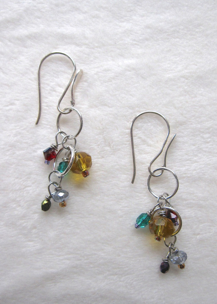 Multi-colored Glass and Sterling Silver Earrings-SugarJewlz Handmade Jewelry