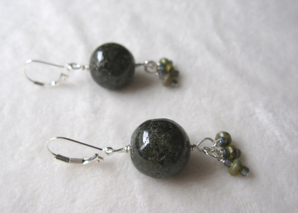 Green Garnet Globes with Glass Earrings-SugarJewlz Handmade Jewelry