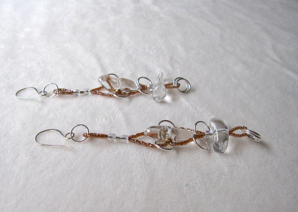 Clear Quartz with Rings Long Earrings-SugarJewlz Handmade Jewelry