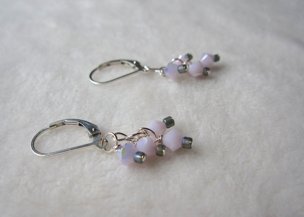 Short Pink Swarovski Crystal Earrings-SugarJewlz Handmade Jewelry