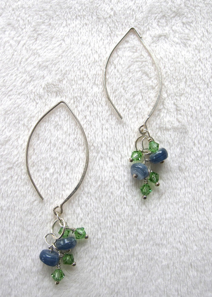 Sterling Silver and Kyanite with Swarovski Crystal Tassel Earrings-SugarJewlz Handmade Jewelry