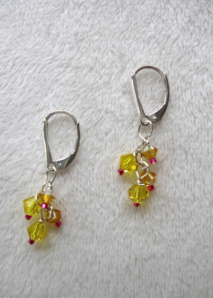 Yellow Swarovski Crystal Tassel Earrings-SugarJewlz Handmade Jewelry