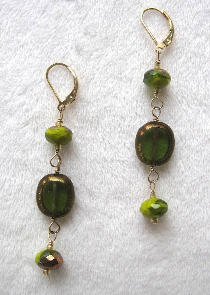 Long Green Glass Earrings-SugarJewlz Handmade Jewelry