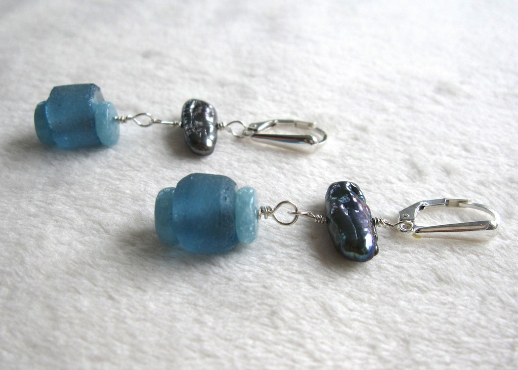 Stick Pearls and Recycled Glass Earrings-SugarJewlz Handmade Jewelry