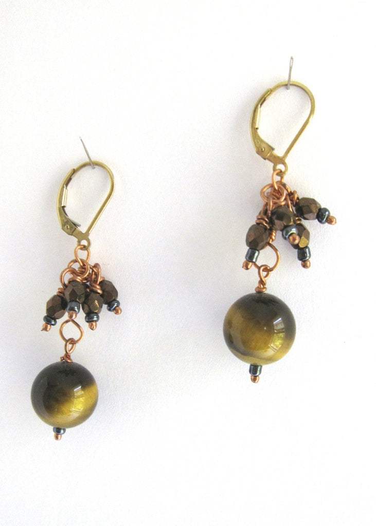 Tiger eye and Glass Earrings-SugarJewlz Handmade Jewelry