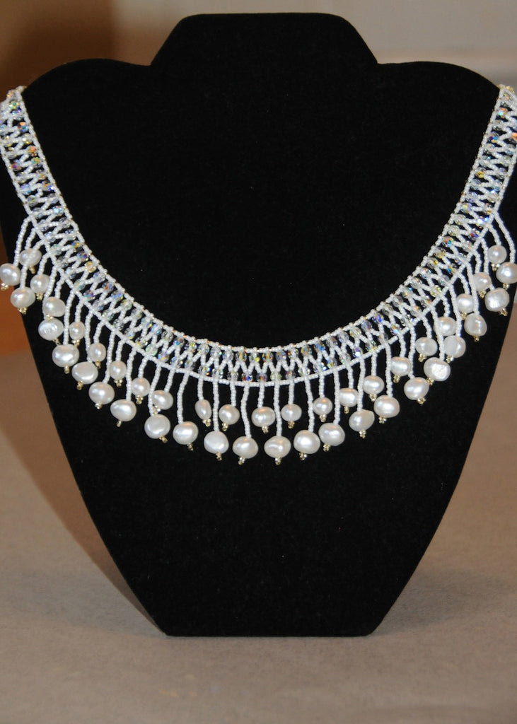 Swarovski Crystal and Fresh Water Pearl Bridal Collar-SugarJewlz Handmade Jewelry