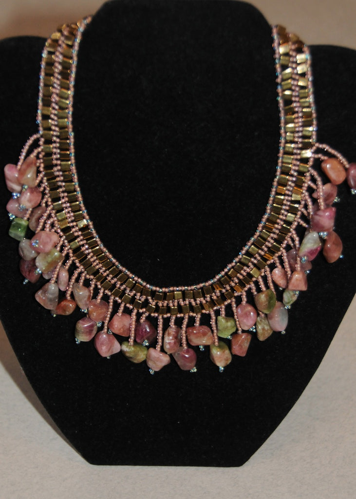 Hand Stitched Tourmaline Collar-SugarJewlz Handmade Jewelry
