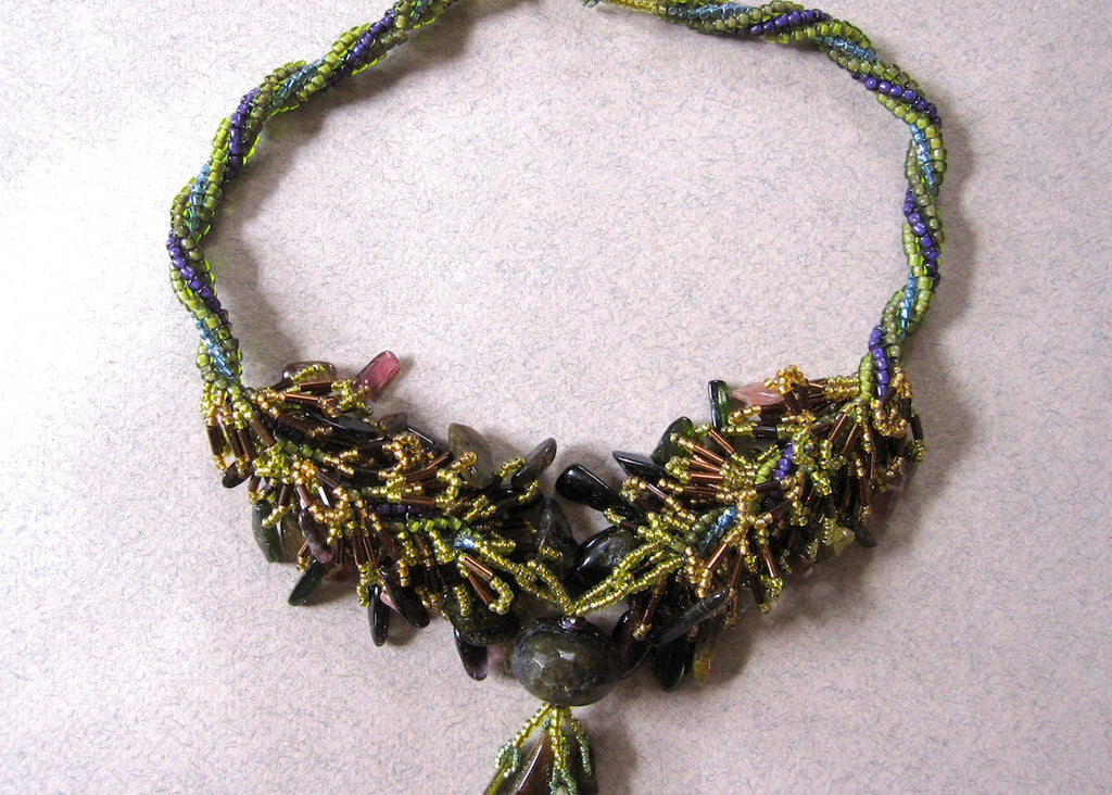 Tormaline Fringe Necklace-SugarJewlz Handmade Jewelry