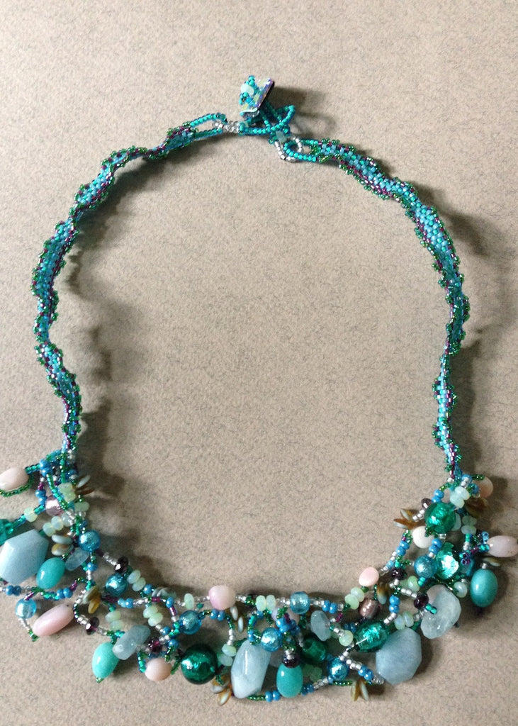 Hand Stitched Freeform Necklace-SugarJewlz Handmade Jewelry