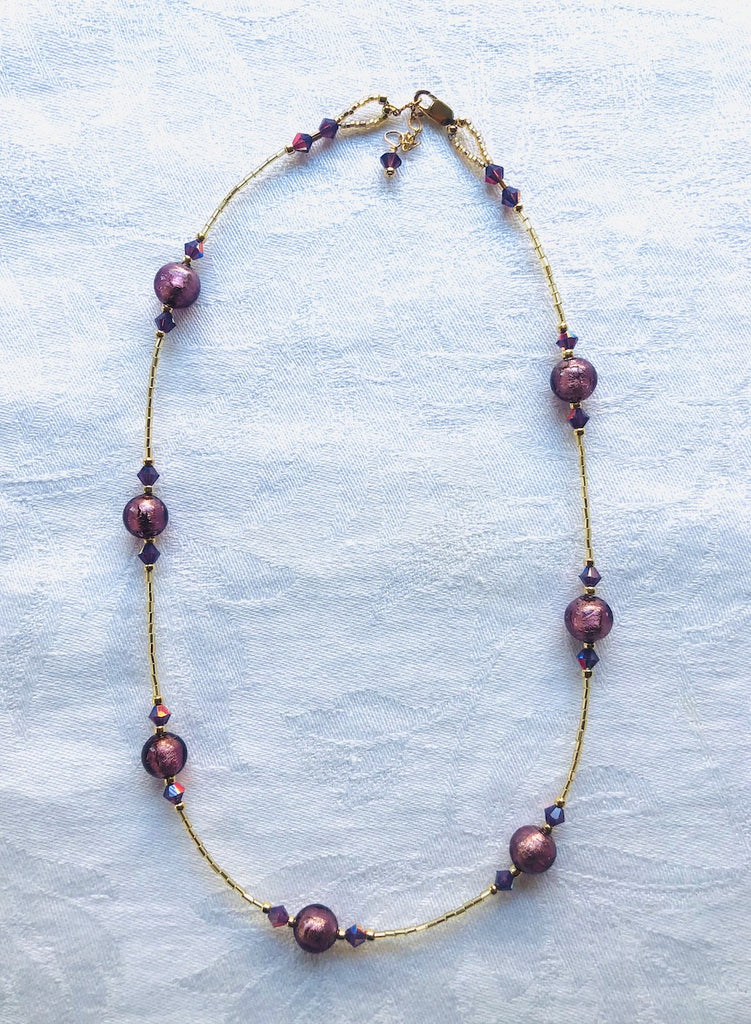 Purple Venetian Glass with Swarovski Crystals Necklace-SugarJewlz Handmade Jewelry