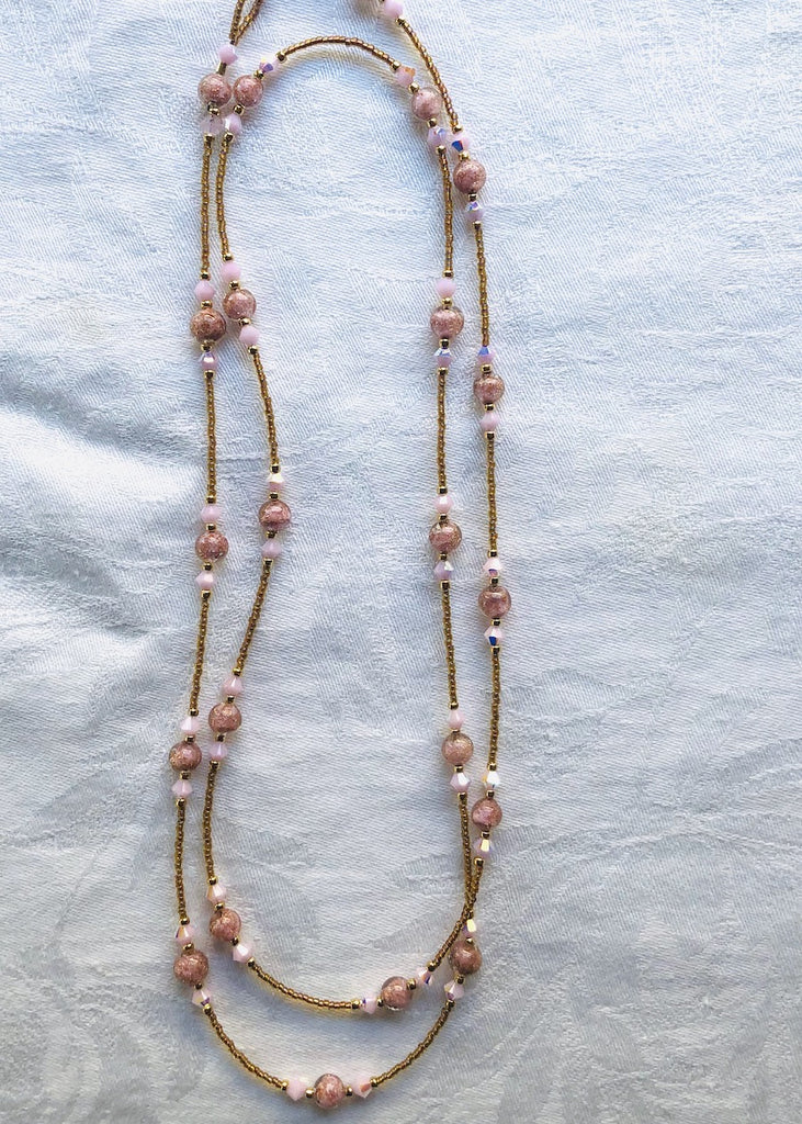 Pink with Gold Fleck Venetian Glass and Swarovski Crystals Necklace-SugarJewlz Handmade Jewelry