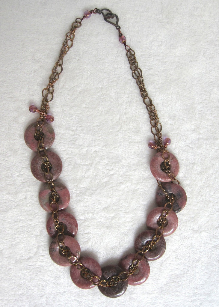Stone Donuts with Chain Necklace-SugarJewlz Handmade Jewelry