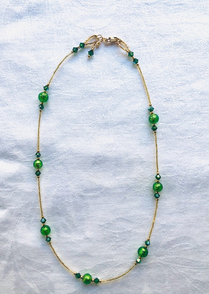 Emerald Green Venetian Glass with Swarovski Crystals Necklace-SugarJewlz Handmade Jewelry