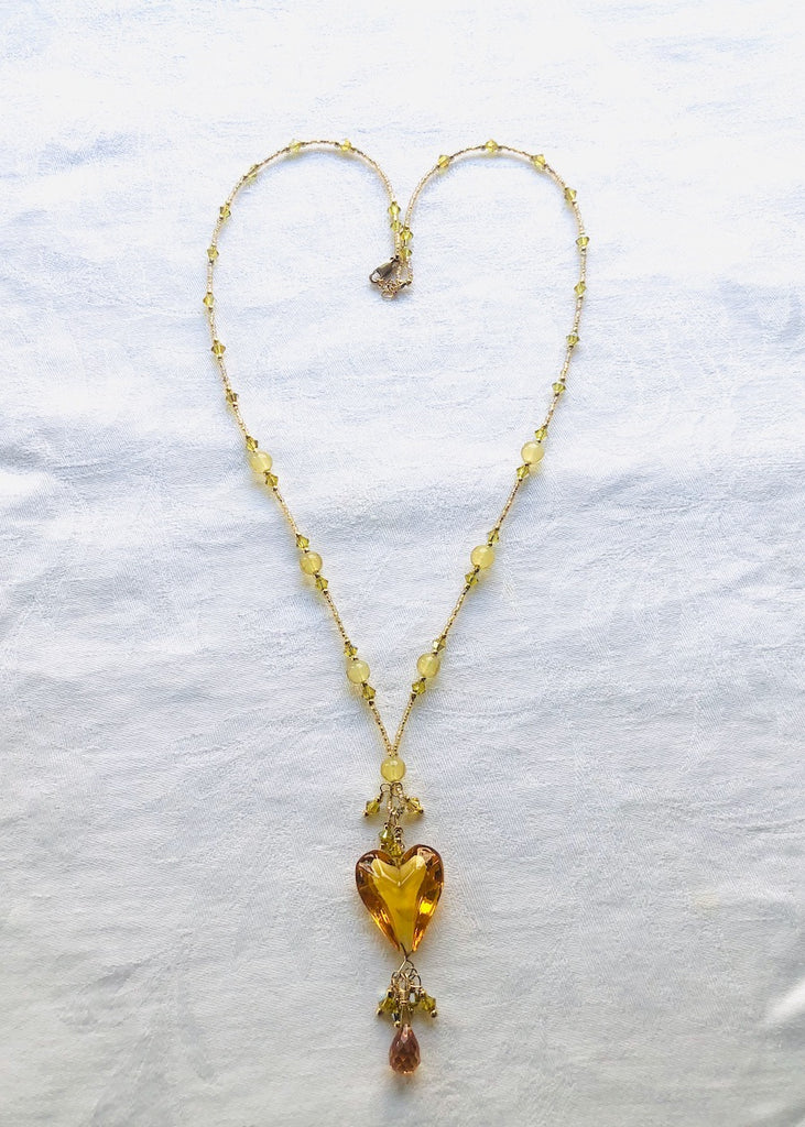 Amber Venetian Glass Heart with Swarovski and Cubic Zirconia Necklace-SugarJewlz Handmade Jewelry
