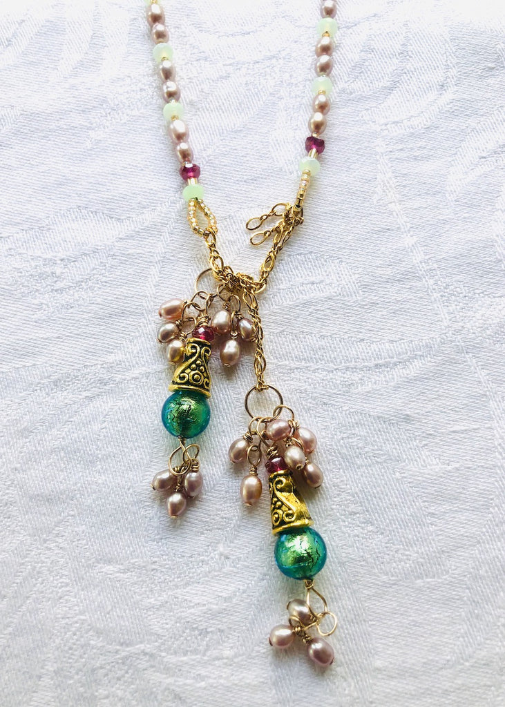 Fresh Water Pearl with Venetian Glass and Brass Cones Lariat-SugarJewlz Handmade Jewelry