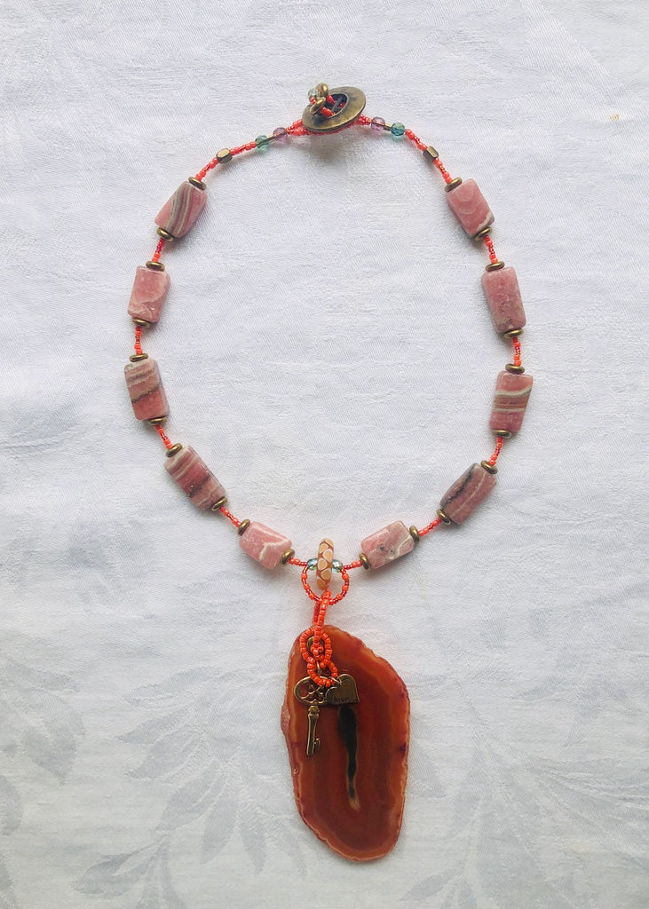 Orange Stone Slice with Charms and Rhodonite Necklace-SugarJewlz Handmade Jewelry