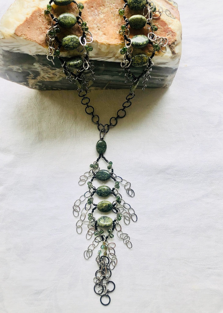 Green Agate with Chain Woven Segments Necklace-SugarJewlz Handmade Jewelry