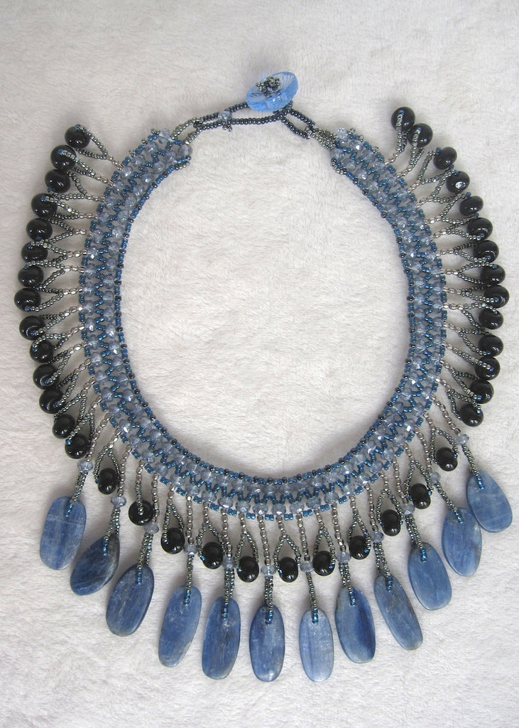 Hand Stitched Kyanite Peddle Collar Necklace-SugarJewlz Handmade Jewelry