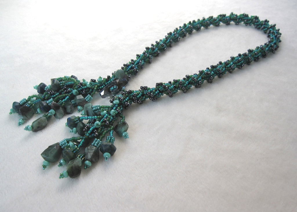 Hand Stitched Green Garnet Tassle Necklace-SugarJewlz Handmade Jewelry