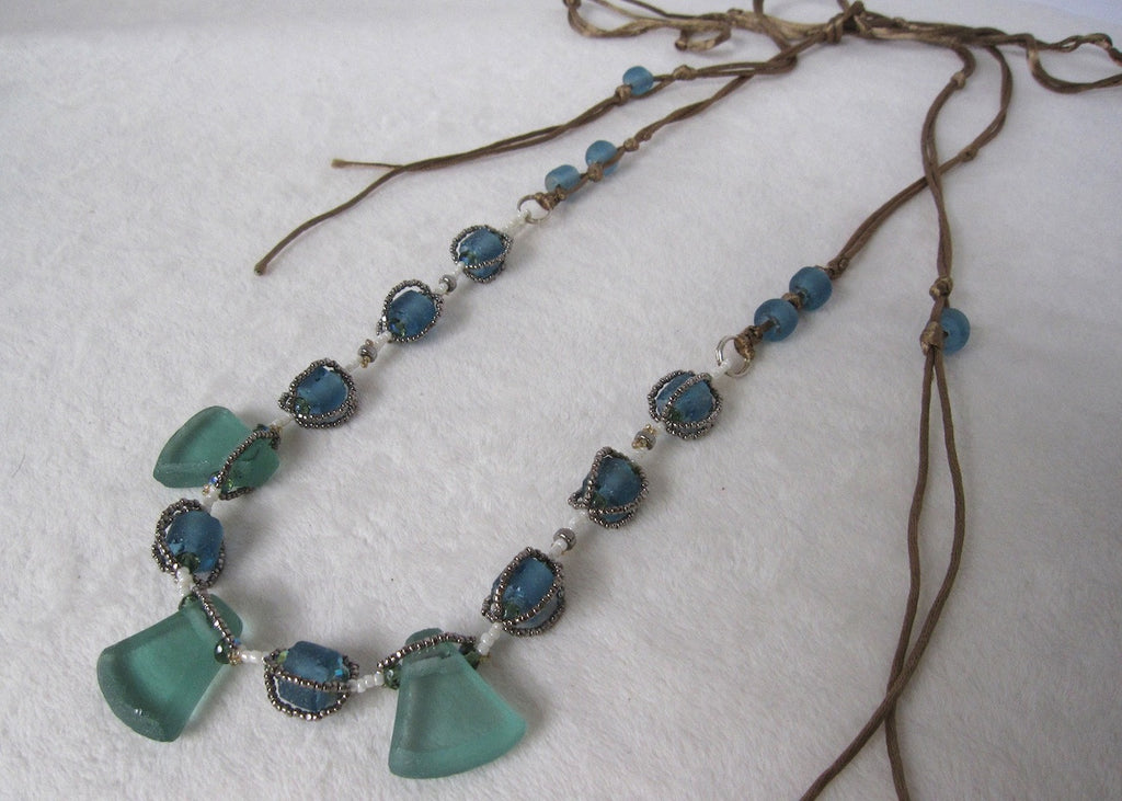 Hand Stitched Recycled Glass Necklace-SugarJewlz Handmade Jewelry