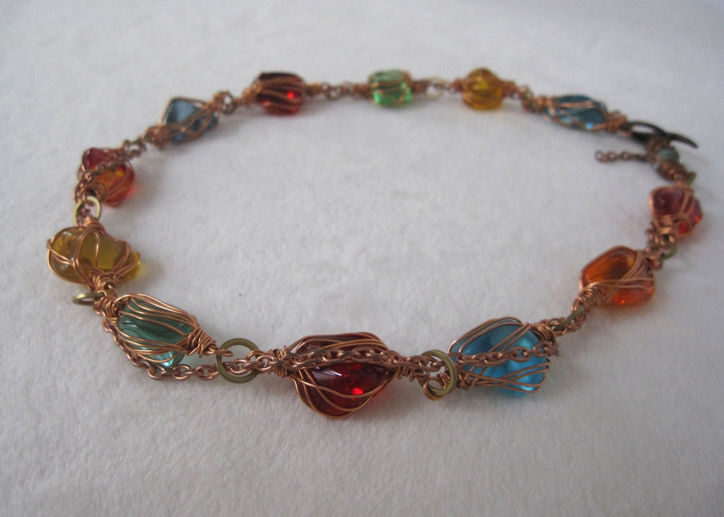 Copper Wrapped Glass Nuggets Necklace-SugarJewlz Handmade Jewelry