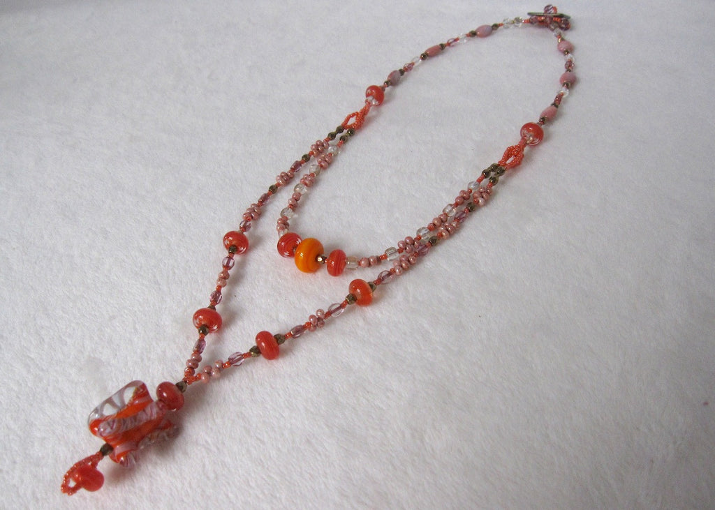 Hand Made Glass Double Strand Necklace-SugarJewlz Handmade Jewelry
