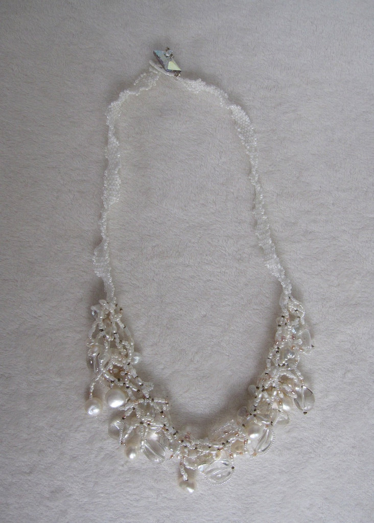 Hand Stitched Freeform Pearl and Quartz Necklace-SugarJewlz Handmade Jewelry
