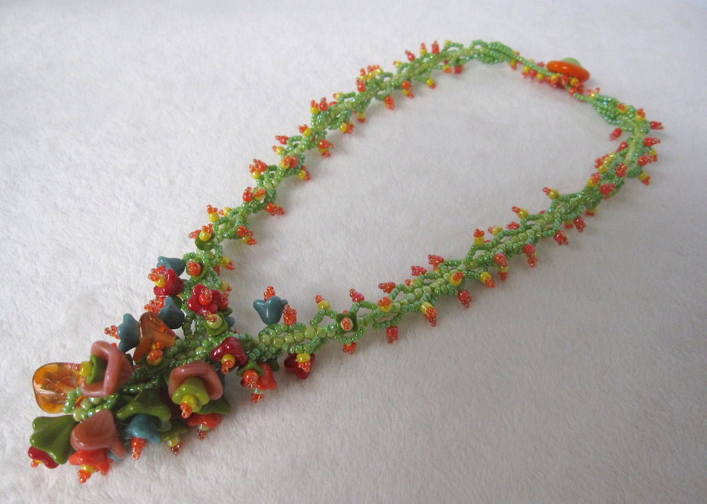 Flower Bouquet Necklace-SugarJewlz Handmade Jewelry