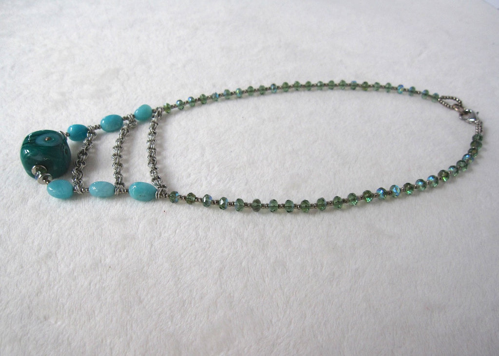 Green Glass and Amazonite Necklace-SugarJewlz Handmade Jewelry