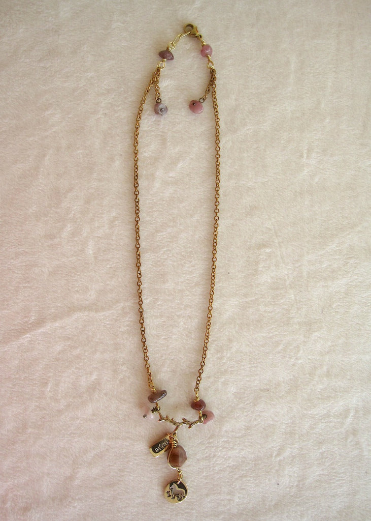 Brass Branch with Tourmaline and Charms Necklace-SugarJewlz Handmade Jewelry
