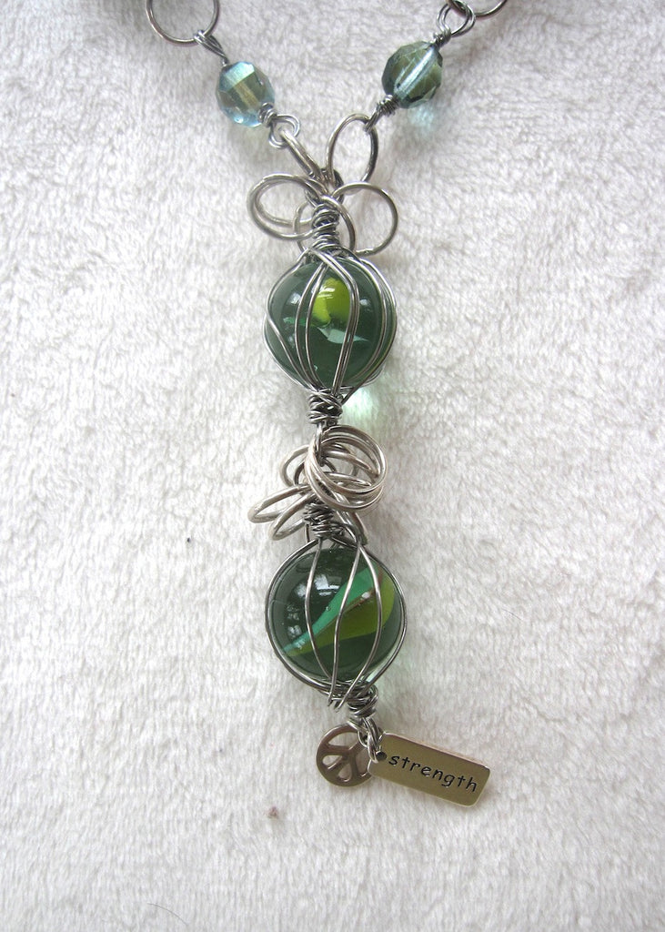 Wire Wrapped Vintage Swirl Marbles and Charms Necklace-SugarJewlz Handmade Jewelry
