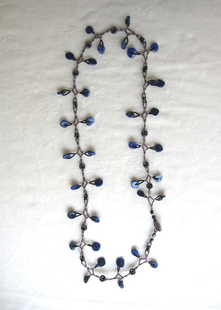 Blue Lapis Dangle Necklace-SugarJewlz Handmade Jewelry