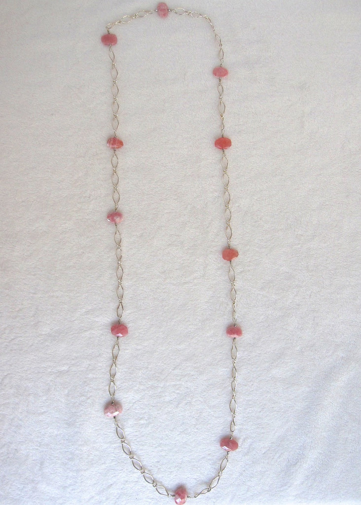 Rodocrosite and Sterling Silver Necklace-SugarJewlz Handmade Jewelry