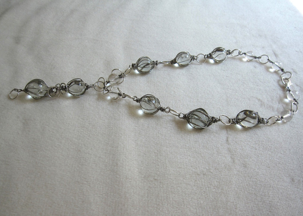 Clear Wrapped Vintage Marbles Necklace-SugarJewlz Handmade Jewelry