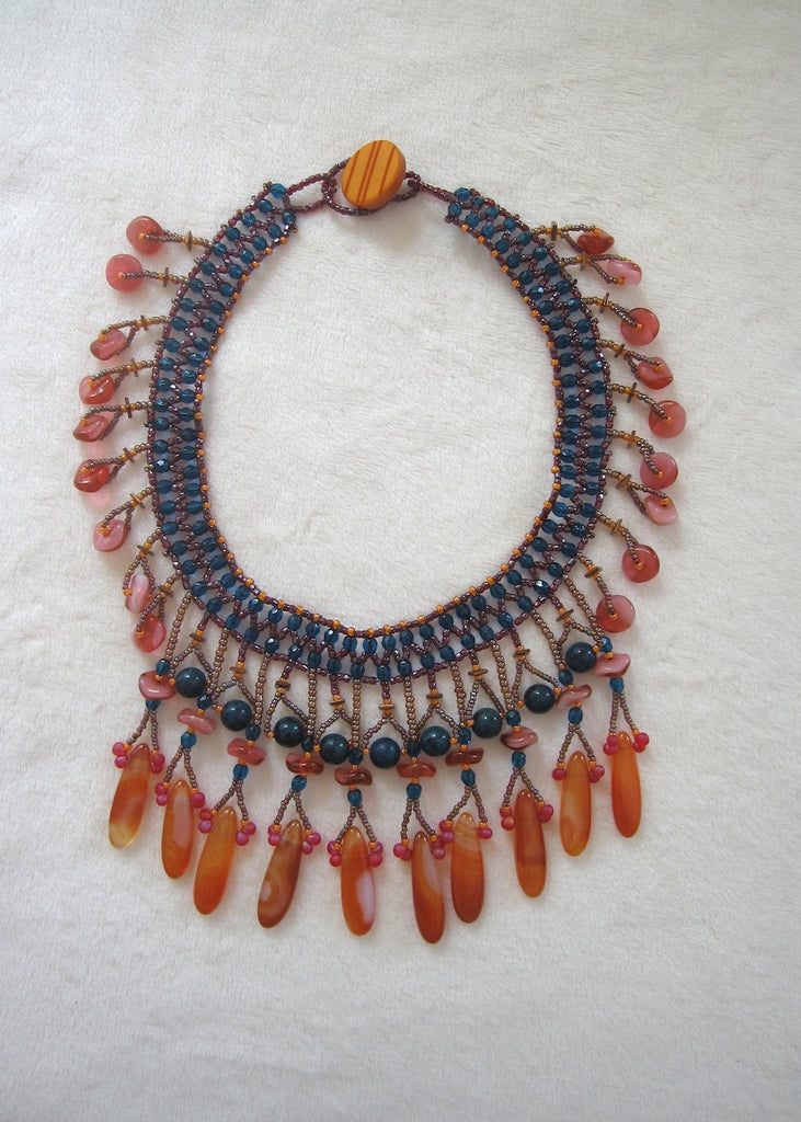 Carnelian and Gemstone Collar-SugarJewlz Handmade Jewelry