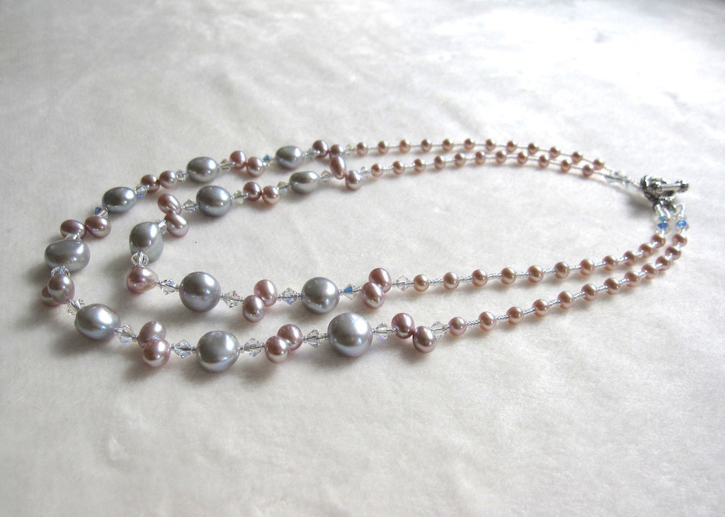 Two Strand Freshwater Pearl and Swarovski Crystal Necklace-SugarJewlz Handmade Jewelry