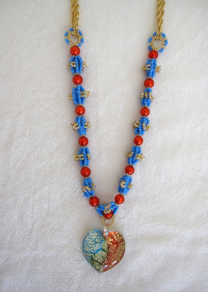 Orange and Teal Venetian Glass Heart Necklace-SugarJewlz Handmade Jewelry