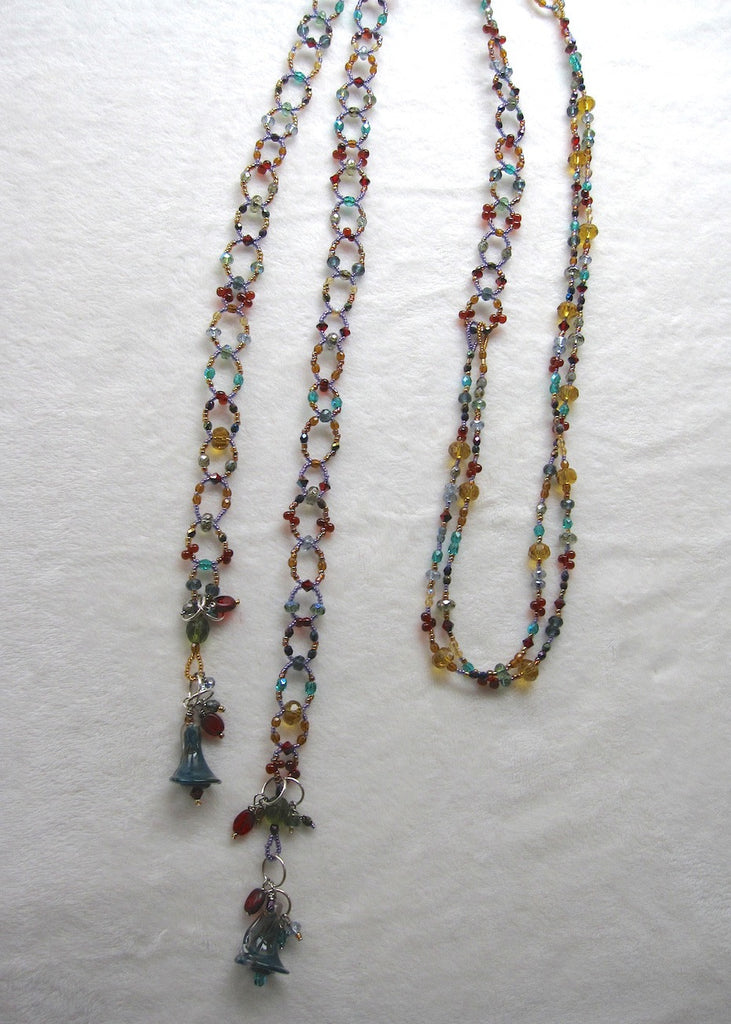 Long and Loopy Jewel Toned Lariat with Handmade Calalily Beads Necklace-SugarJewlz Handmade Jewelry