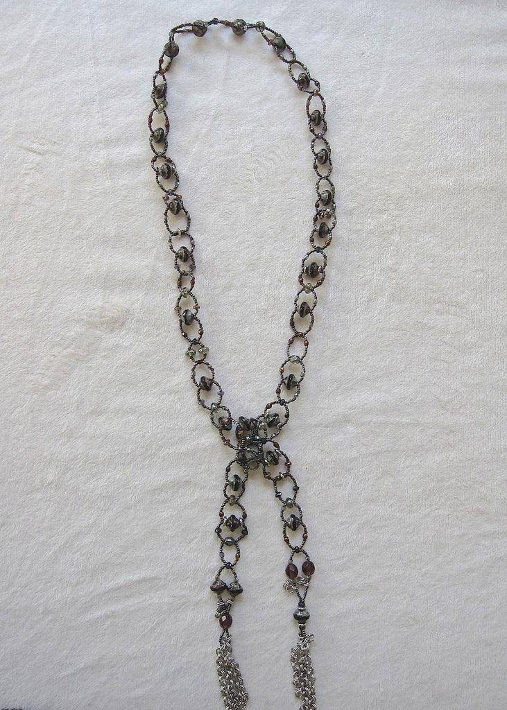 Earthy Woven Glass Lariat Necklace-SugarJewlz Handmade Jewelry