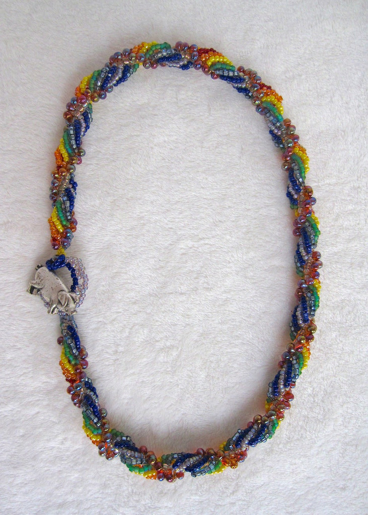 Hand Stitched Rainbow Spiral Necklace-SugarJewlz Handmade Jewelry
