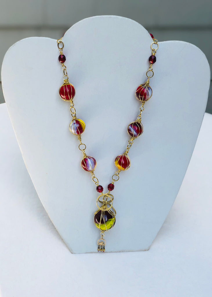 Yellow and Red Vintage Marbles with Bird Charm Necklace-SugarJewlz Handmade Jewelry