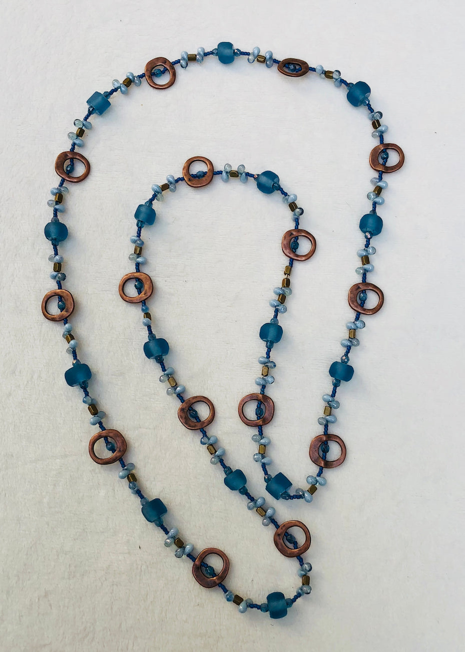 Brushed Copper Metal Frames with Recycled Glass Long Necklace ...