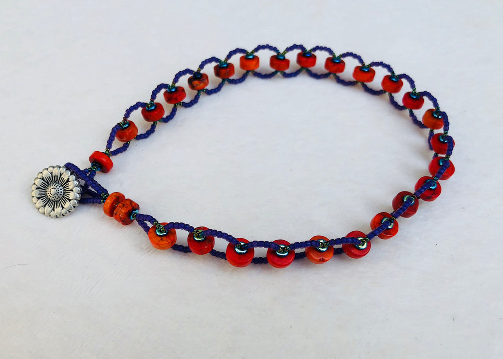 Orange Turquoise with Purple Bicycle Chain Necklace-SugarJewlz Handmade Jewelry