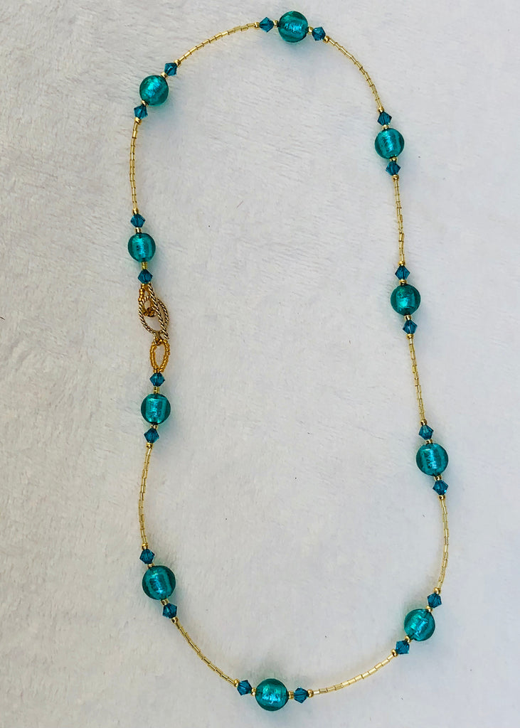 Teal Venetian Glass with Swarovski Crystals Short Necklace-SugarJewlz Handmade Jewelry