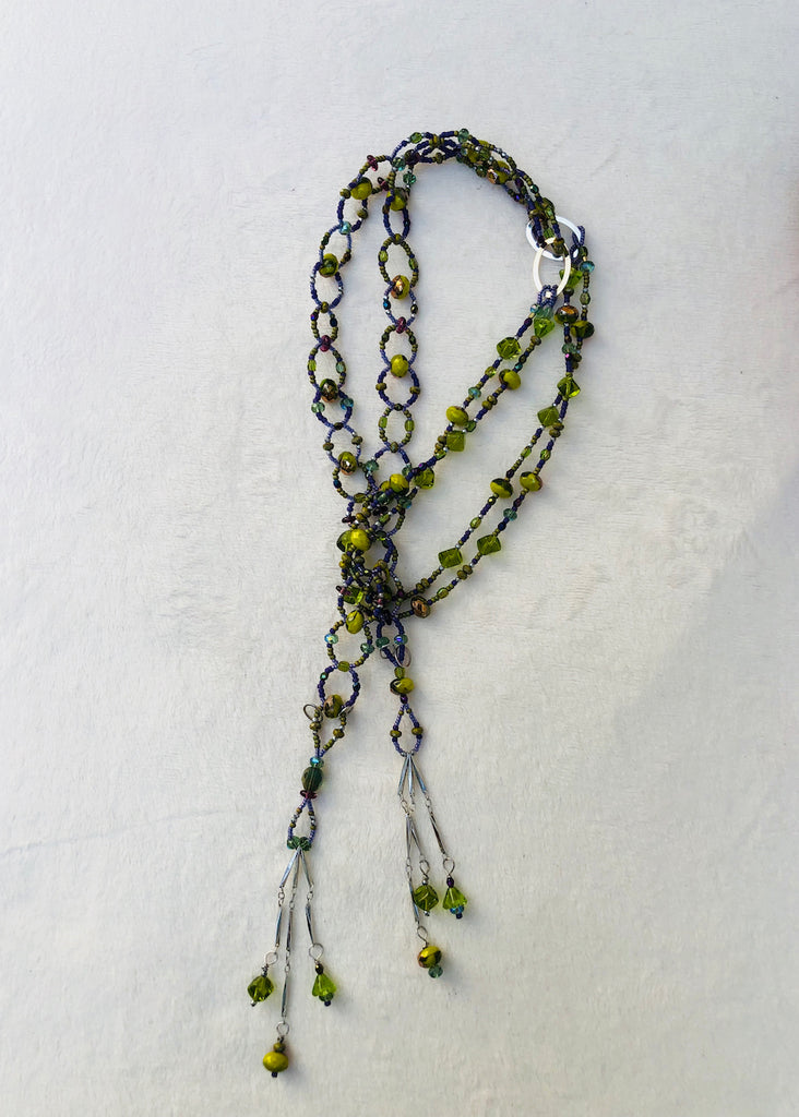 Green Woven Glass Lariat Necklace-SugarJewlz Handmade Jewelry