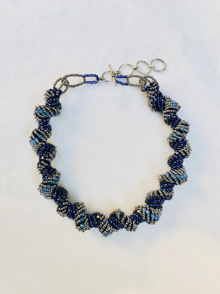 Black and Blue Chunky Spiral Choker Necklace-SugarJewlz Handmade Jewelry