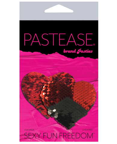Pastease Double Sequin Hearts - Red/Black O/S